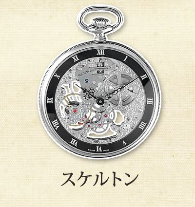 スケルトンデザインの懐中時計