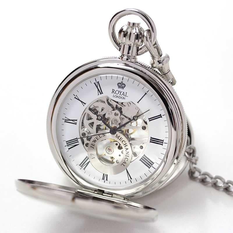 ROYAL LONDON(ロイヤルロンドン) スケルトン懐中時計 両蓋開き 手巻き 90048-01